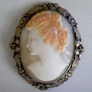 Cameo Sterling Antique 1920s Portrait Cameo Pin